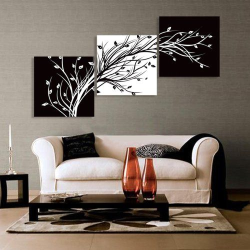 Abstract the black and white flowers decorative painting plum is wind  canvas modern art of three pieces wall paintings 3 connected contrast tree 63 best images on Pinterest Painting