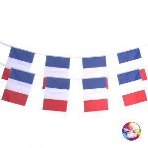 Cette guirlande France tricolore bleu, blanc, rouge entièrement en tissu polyester mesure 4,5 m de longueur, idéal pour décorer une salle de façon chic.