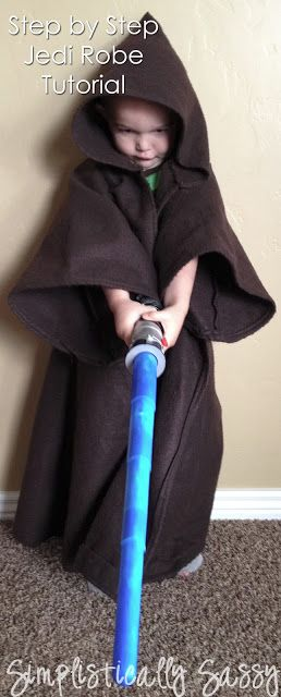 Step By Step Jedi Robe Tutorial by Simplistically Sassy. Star Wars boys halloween fancy dress costume