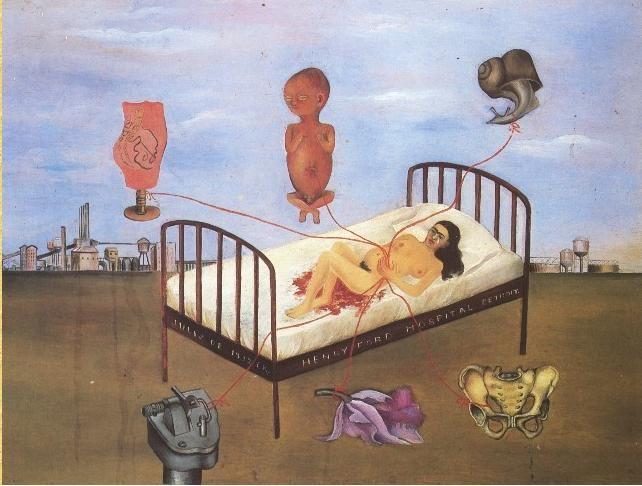 """""""La cama volando"""" o """"Henry Ford Hospital"""" Sobre el vientre aún hinchado sobre el embarazo sujeta tres filamentos rojos que podrían ser sus venas, en una cama demasiado grande para ella, reflejando la soledad, tristeza y el desamparo que debía sentir. Estos hilos enlazan 6 cosas:  1.Niño en posición embrionaria: el niño perdido 2.Caracol: la lentitud del propio aborto, según dijo Frida. También encontramos un caracol en otros cuadros como símbolo de la vida o el sexo 3. Maqueta de su pelvis…"""