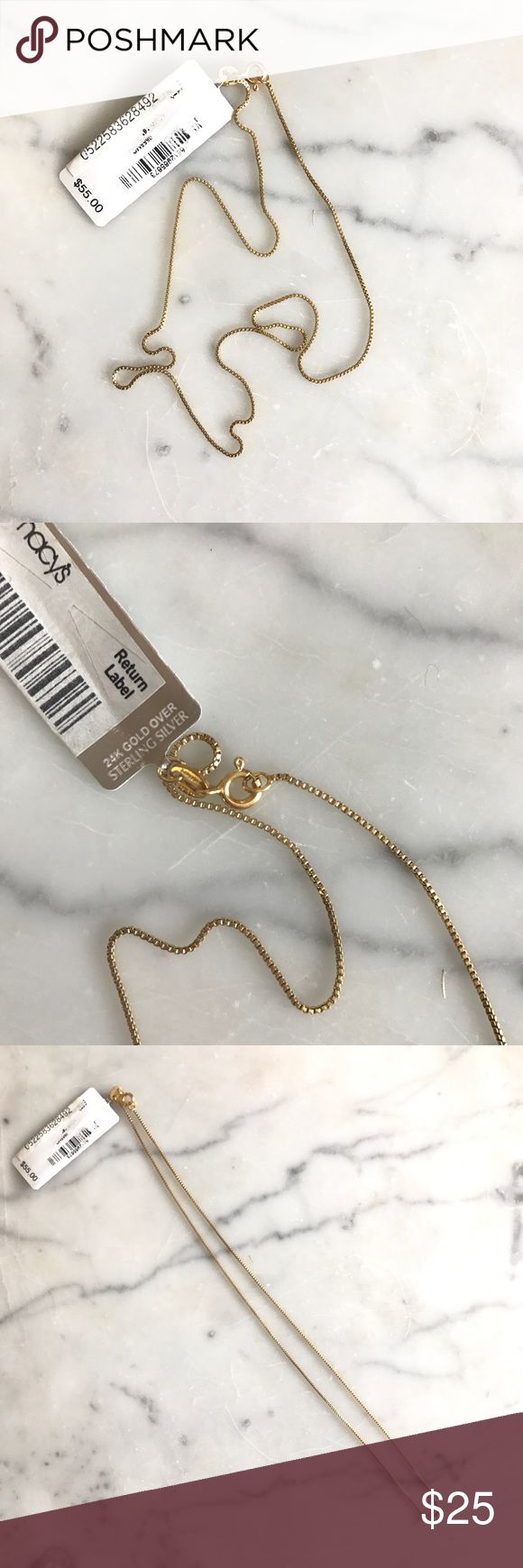 "NWT 24K GOLD chain This NWT 24K gold coated sterling silver chain is 16"" long. It's perfect to add a pendent to or to be worn on its own. Giani Bernini Jewelry Necklaces"