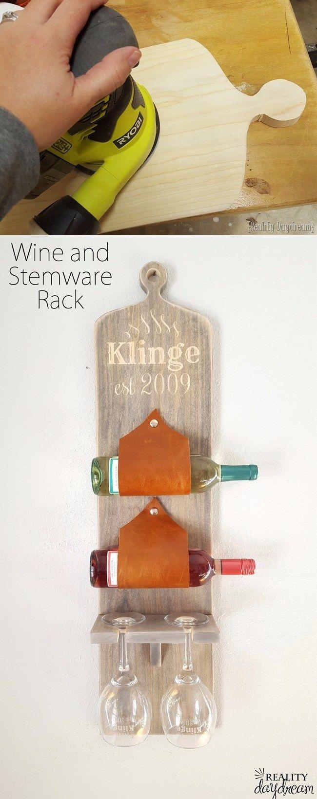 Tabla para sostener copas y vinos - realitydaydream.com - DIY Wine & Stemware Rack