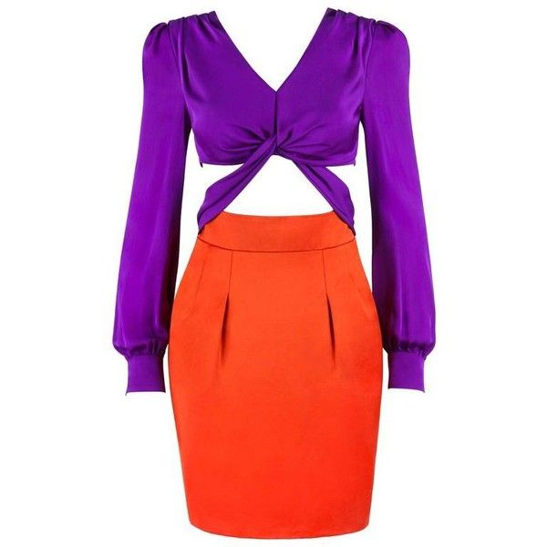 Preowned Gucci S/s 2011 Purple Orange Color Block Knotted Midriff... ($2,494) ❤ liked on Polyvore featuring dresses, purple, red long sleeve dress, long sleeve purple dress, v neck cocktail dress, long sleeve dress and red dress