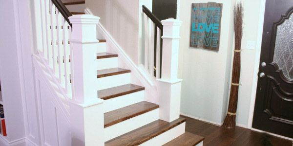 How We Built Our Custom Newel Posts; Tutorial. Need to build a rail like this on the open side of our staircase! This would be perfect!
