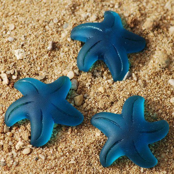 1PC (32mm) Teal Large Starfish Recycled Sea glass Beach Glass Starfish Pendant Beads - 1 Piece