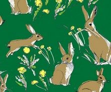 Rabbits & Hares Cotton Fabric by Inprint
