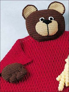 Free Teddy Bear Blanket Buddy Crochet Pattern -- Download this free crochet baby blanket pattern from FreePatterns.com!