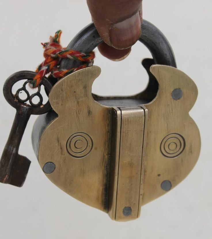 Antique Reproduction Unique Hand crafted Tricky Puzzle Side Iron Brass Padlock