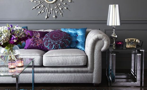 Silver sofa - obsessed with grey right now