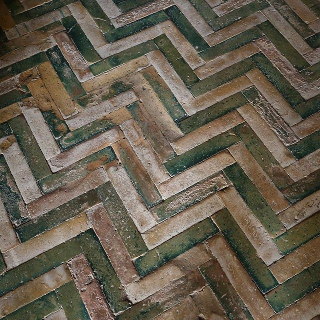 Medieval two color herringbone tile in Casa de Pilatos, Seville. Home to a massive collection (in quality and variety) of tiles.