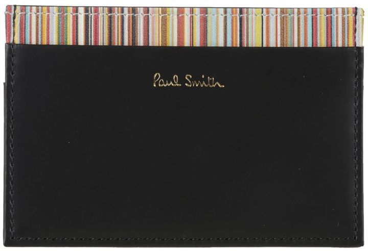Paul Smith Signature Stripe Trim Credit Card Holder