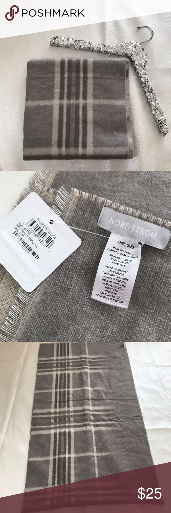 """Nordstrom Checked Plaid Scarf Taupe scarf. Long and oversized. Not a full size """"blanket scarf"""" more like half that. NWT. Matches almost anything! Nordstrom Accessories Scarves & Wraps"""