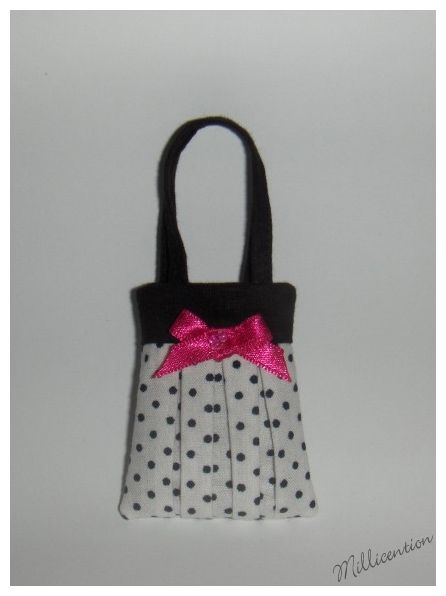 Black & white polka dot Barbie doll bag