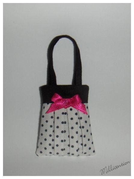 Black & white polka dot Barbie doll bag