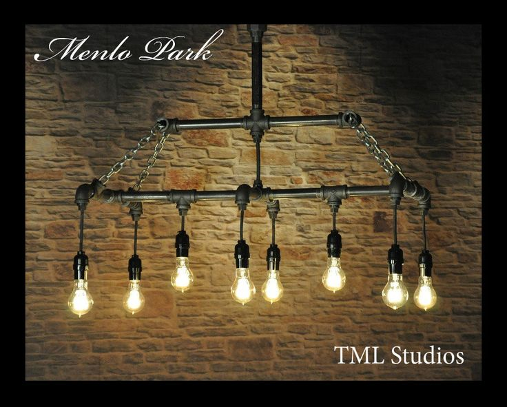 The Menlo Park industrial chandelier light fixture featuring vintage Edison pendant style filament bulbs, black plumbing gas pipe and chains by TMLStudios on Etsy https://www.etsy.com/listing/266488309/the-menlo-park-industrial-chandelier