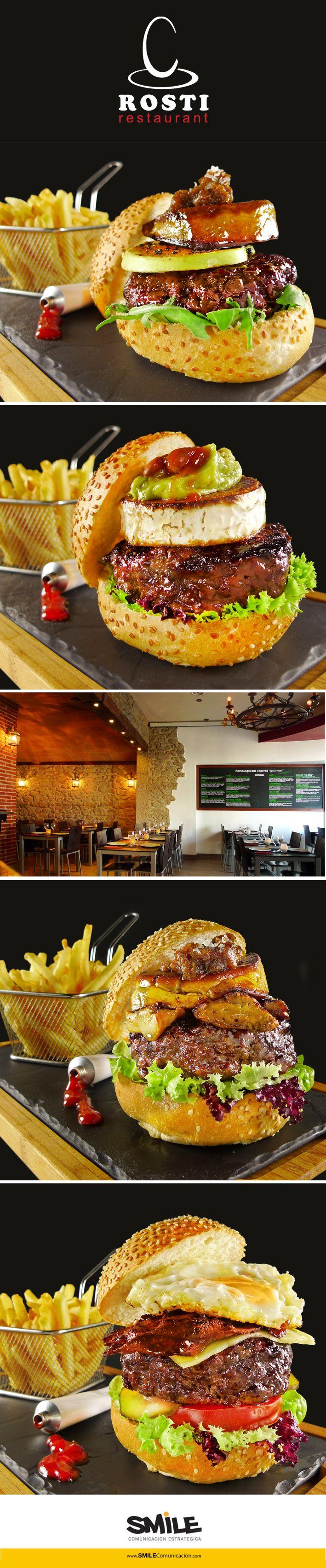 Fotografía de hamburguesas caseras gourmet.