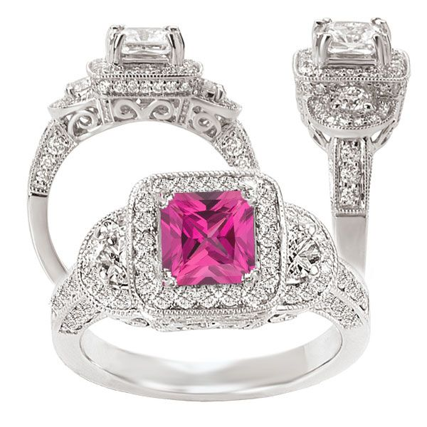 18k created princess cut pink sapphire engagement ring