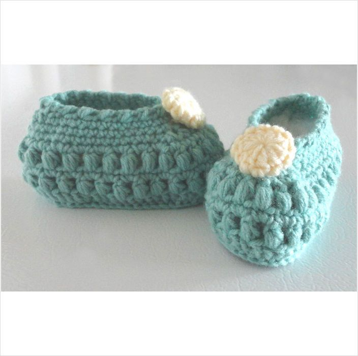 BABY slippers crochet popcorn stitch soft sage 5 inch x 2 inch #001 on ...