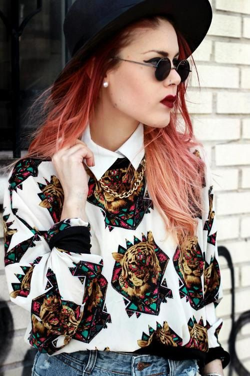 LUANNA PEREZ 90s white psycho jumper all over print lions tigers fluorescent sweatshirt by Madeleinette on Etsy