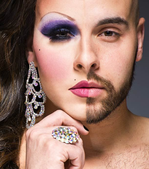 1/2 drag-- drag queen with only half of his make-up on