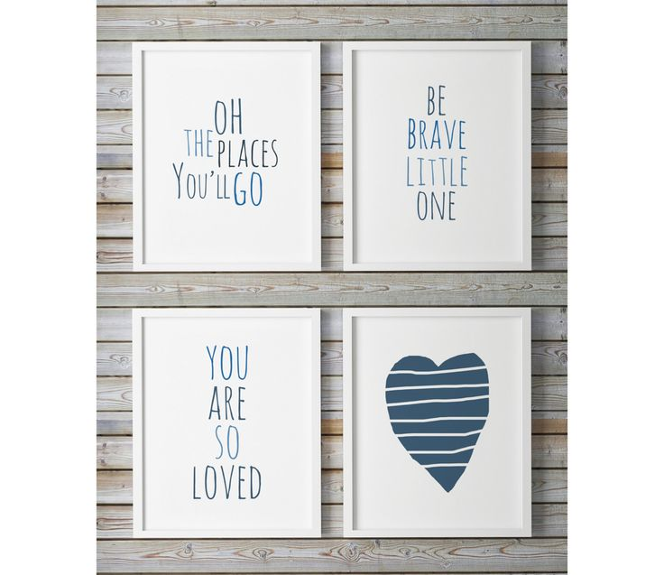 Nursery Wall Art Blue, Set Of 4 Prints, You Are So Loved, Heart Print, Be Brave Little One, Oh The Places you'll Go Navy Blue Indigo Nursery by WhitePrintDesign on Etsy