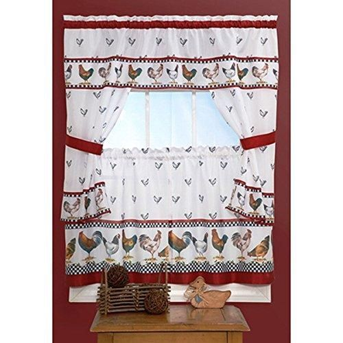 36 Inch Red Color Top Morning Printed Cottage Curtain Tier Set White Background Check Novelty Pattern Cottage Lodge Leghorn Rhode Island Red Hen