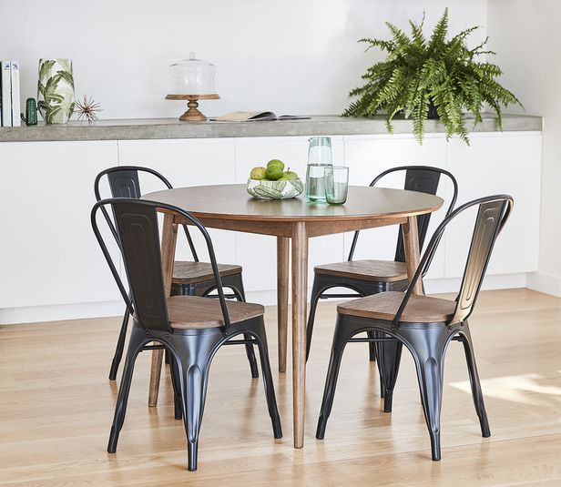 Tara 5 Piece Dining Set With Replica Bamboo Tolix Chair Fantastic Furniture 299 Tolix Chair Dining Chairs Small Dining Table