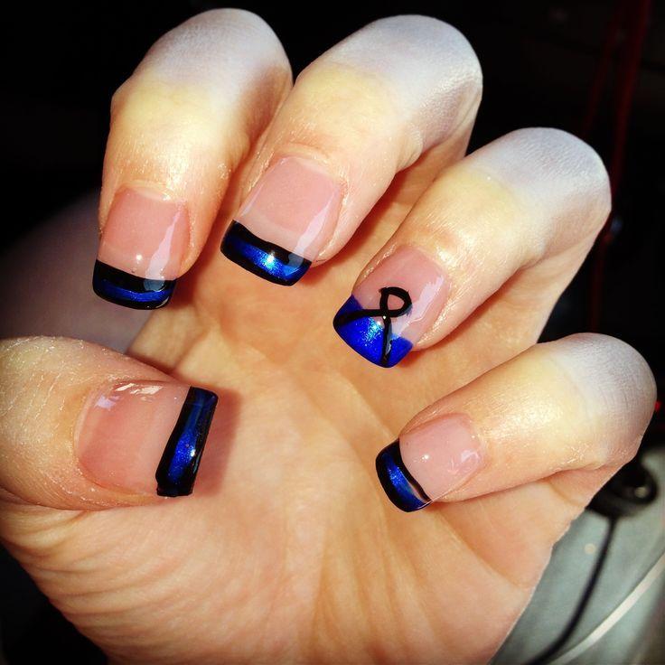 Ashley's -thin blue line-nails   My nails   Pinterest   Ashley ...