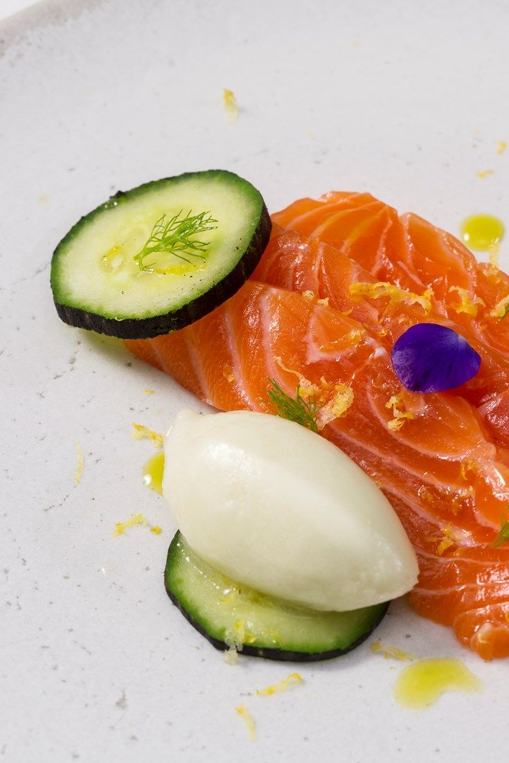 This stunning salmon recipe features several preparations of cucumber, including pickled cucumber, compressed slices and a stunning, creamy cucumber sorbet recipe. A vibrant starter recipe from Russell Bateman.