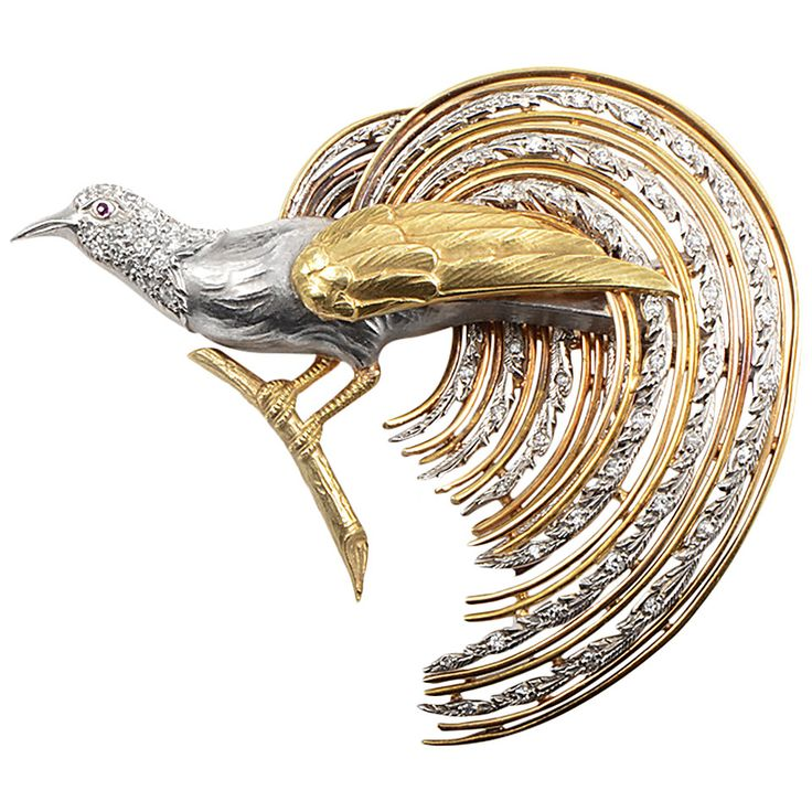 Diamond Gold Platinum Bird Brooch, ca. 20th century. Exquisite artisans crafted impeccably this enchanting brooch using only the highest quality materials, elegant 18K yellow gold and exemplary platinum. Great attention to details was paid during the making of this work of art, which can be seen in the stupendously crafted platinum feathers. The piece features 0.75ct of diamonds. (hva)