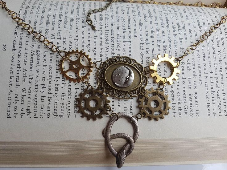 Steampunk Snake and Moon Necklace by LykoCrafter on Etsy