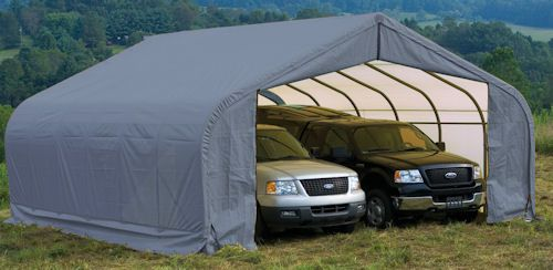 Heavy Equipment Shelters : Shelter logic portable car garage peak roof wide