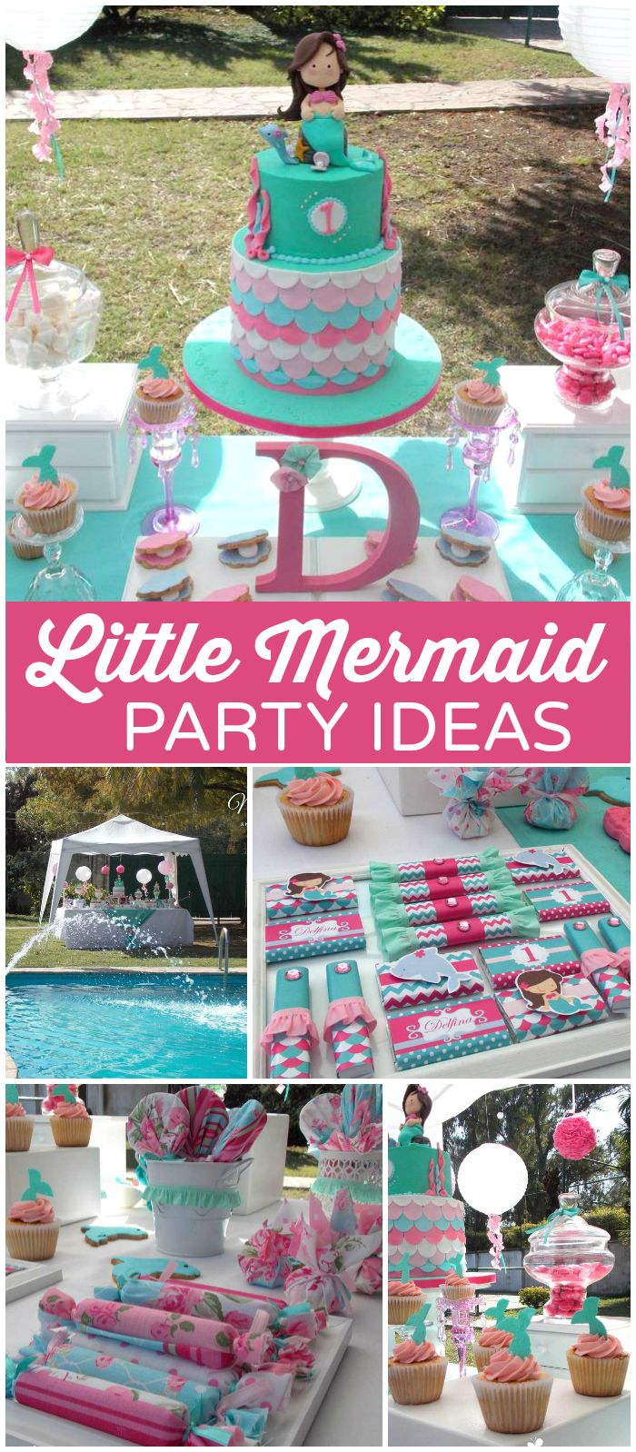 You have to see this pink and teal mermaid party! Gorgeous! See more party ideas at CatchMyParty.com!