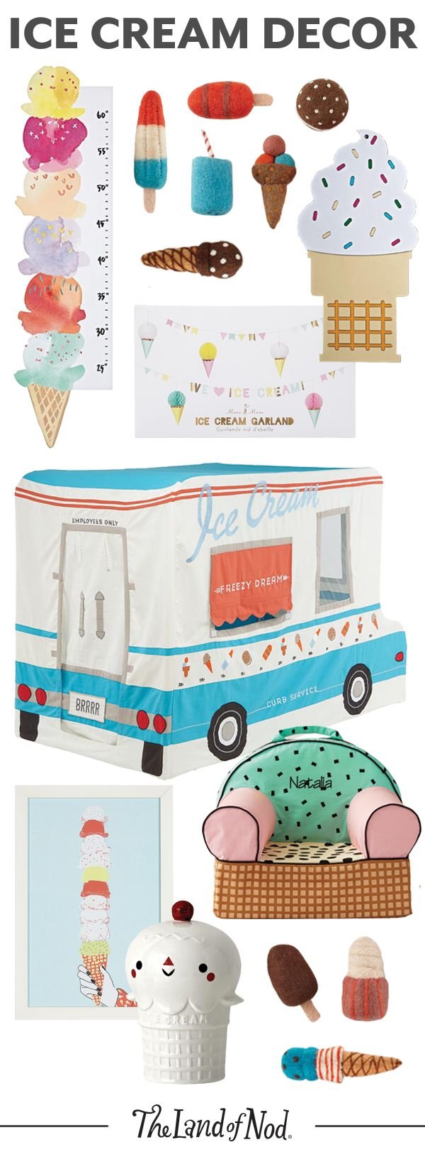 Sweet, vibrant and filled with an array of bright colors, these ice cream-themed decor will liven up your home. We have a feeling any kid will love the wall art, growth chart, playhouse and toys.