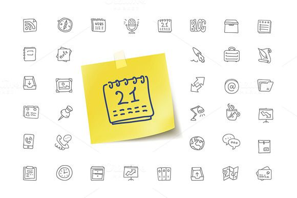 Office Activities and Items Icons by vladut'shop on @creativemarket