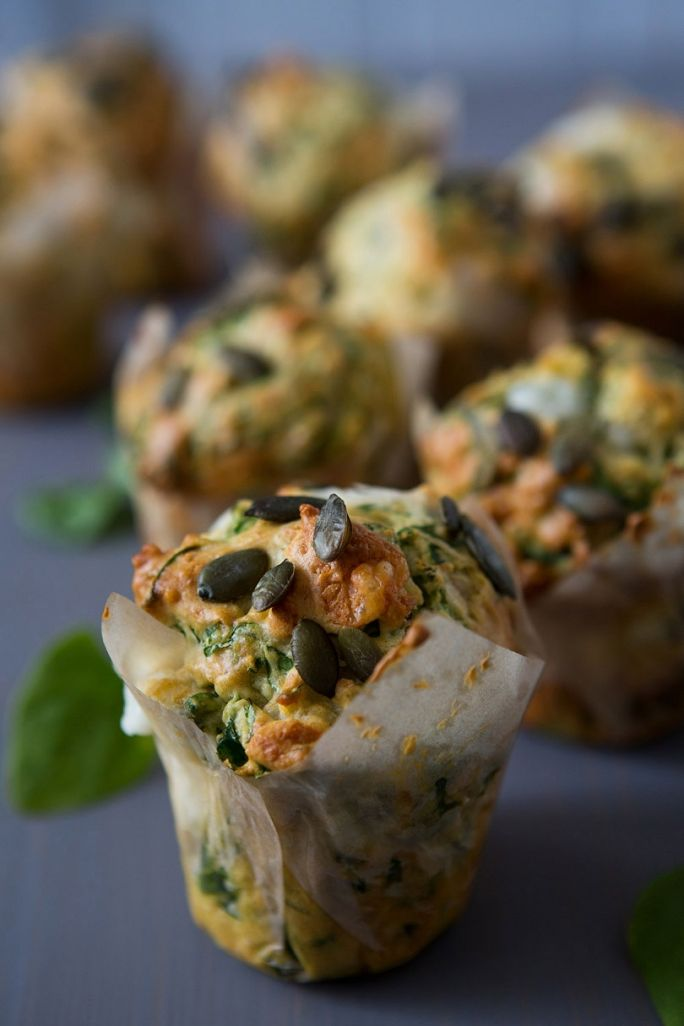 SPINACH, GOAT CHEESE, PARMESAN & PUMPKIN SEED MUFFIN [borrowed-light] [parmigiano-reggiano, parmesan] [pumpkin seed, pepita]