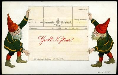 Julekort DEN NORSKE RIKSTELEGRAF. Nyttårskort med to nisser som holder opp et telegram. Tegnet av Jenny Nystrøm. Eneberettiget Mittet & co. Brukt 1909