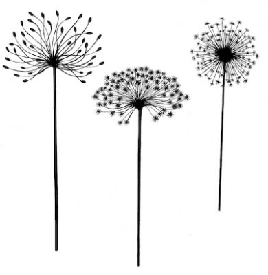 Dandilion Stamp, each 8cm - 9cm tall, this stamp has proved  really popular, such a simple but effective stamp, check them out in the gallery.     Click on image to enlarge