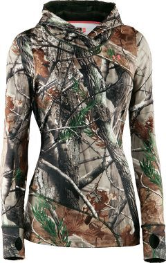I'm supposed to start working on getting camo for hunting season. This looks pretty toasty. Cabela's: Under Armour® Women's EVO ColdGear® Hoodie