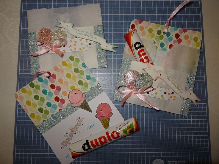 Karte Geschenk Muttertag Stampin up Tüte So süß Duplo Verpackung Gutschein Eis Designpapier Geburtstagsbasics Luftballon - Stanze