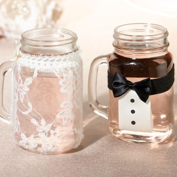 Bride and Groom Mason Jar Glass Cover Set