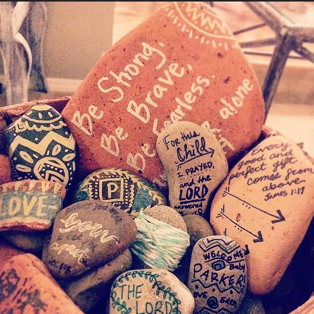 Activity For Adults: Blessing Stones. Verses For Encouragement For Baby.