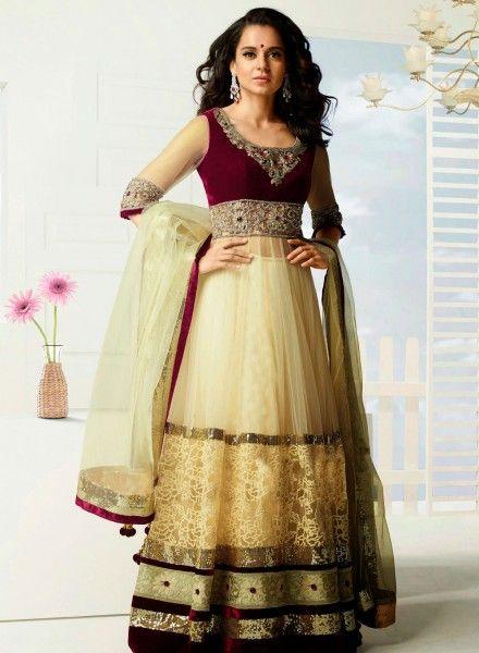 Buy Bollywood Designer Kangna Ranaut Anarkali In Buttercream & Maroon $97.91 . Shop at - bollywood-ankle-length-anarkali.blogspot.co.uk/2014/06/buy-bollywood-designer-kangna-ranaut.html