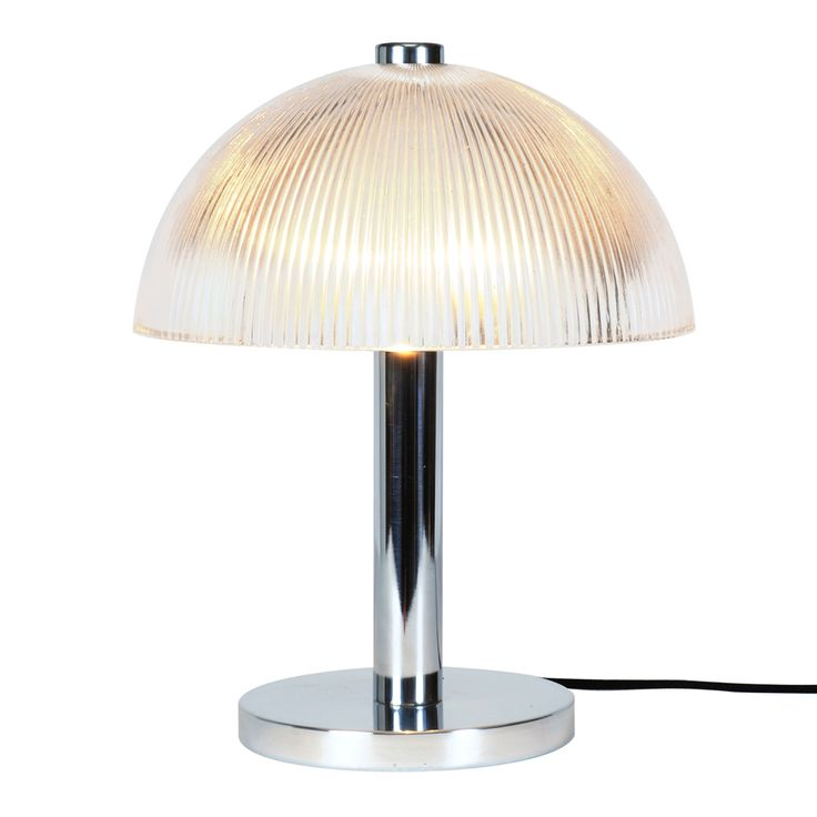 The Cosmo prismatic table light has a shortened semi sphere glass shade. The transparent ribbed shade provides a pretty and strong illumination. . Type of fitting: E14. Number of lamps: 1. Lamp: GLS. Maximum wattage: 60. Voltage: 230 (AC). Bulb Supplied: No. Type of glass: Clear Prismatic Glass. IP Rating : IP20. Dimmable: No