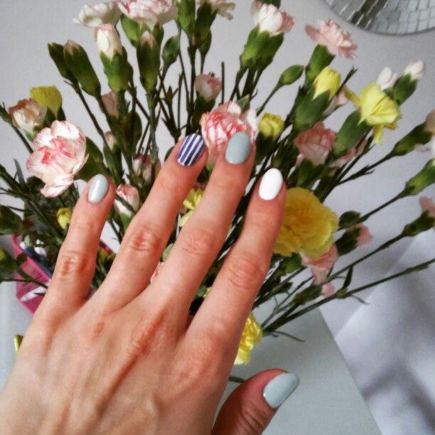 White, blue, nails, semilac