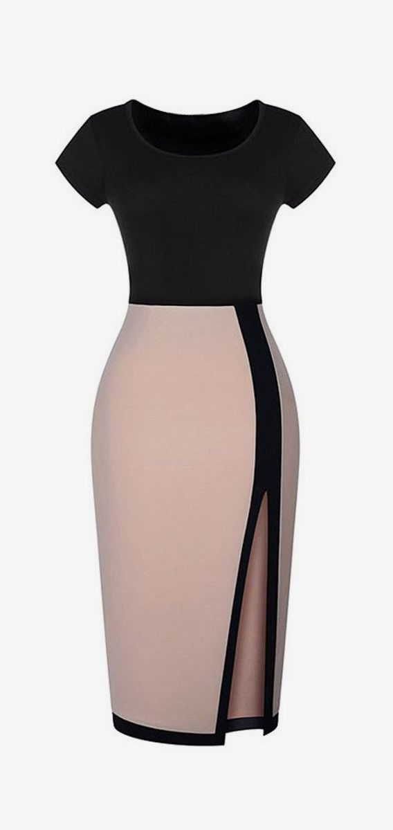 Color Block Short Sleeve Thigh Split Bodycon Dress