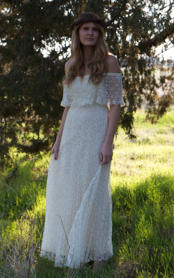Bohemian Vintage Wedding Dress  Maya by DaughtersOfSimone on Etsy