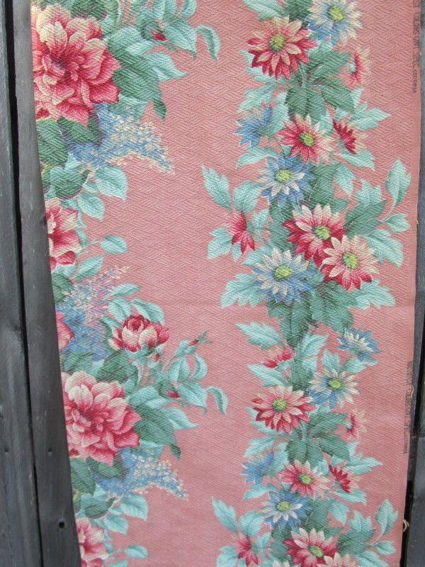 3 Vintage Curtains Valance Panels FLORAL Botanical PINK SALMON Textured COTTAGE