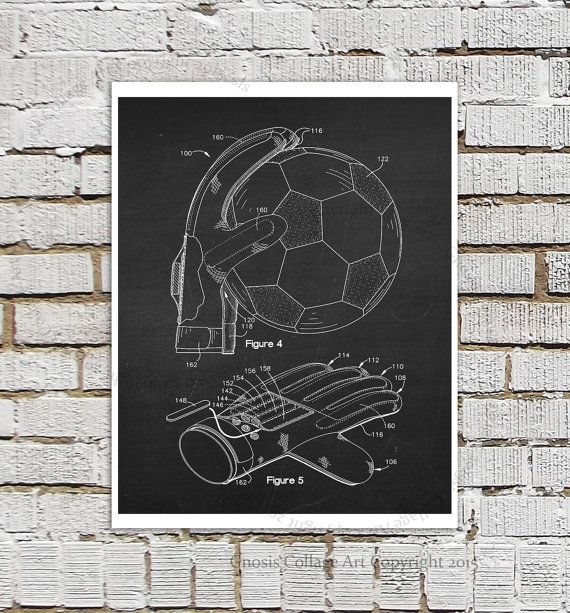 Soccer Goalie Gloves Poster Patent print 4 by GnosisCollageArt
