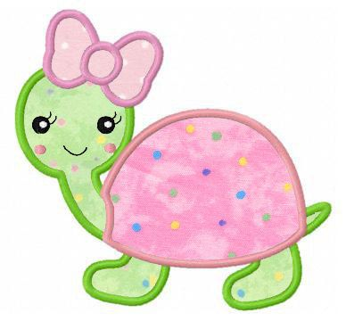 Girl turtle applique machine embroidery design. $4.00, via Etsy.